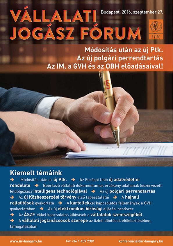 Vállalati jogász fórum